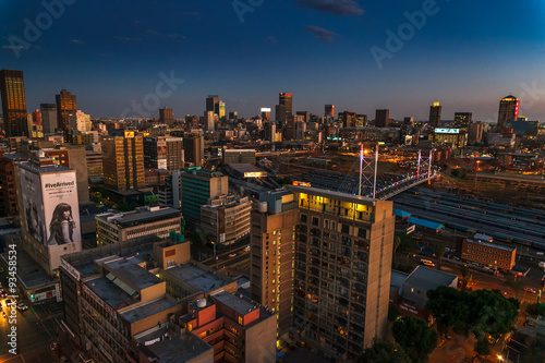 Johannesburg city centre at sunset.