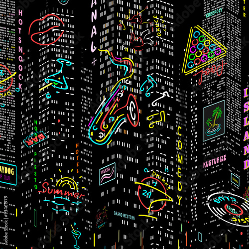 Photo  Background City Nightlife Vector