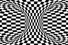 Black And White Checkered Torus Abstract Background