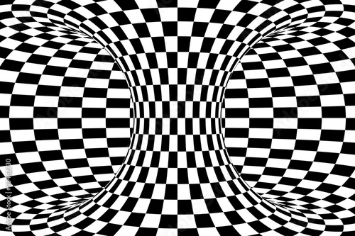Fotografie, Obraz  Black and White Checkered Torus Abstract Background