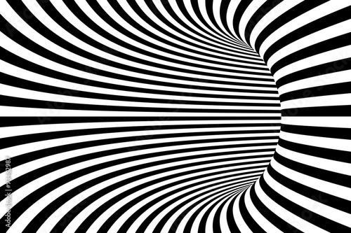 tunel-w-czarno-biale-linie-3d