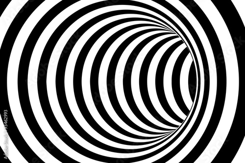 Fototapety, obrazy: Black and White Striped Abstract Tube Background
