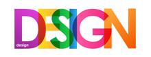 """DESIGN"" Overlapping Vector Letters Icon (multicoloured)"