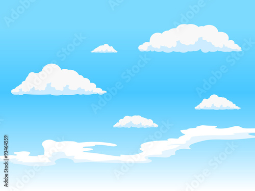 Poster Ciel Sky with clouds vector illustration