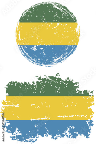 Fotografie, Obraz  Gabonese round and square grunge flags. Vector illustration.
