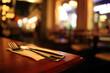 canvas print picture - restaurant interior blurred background