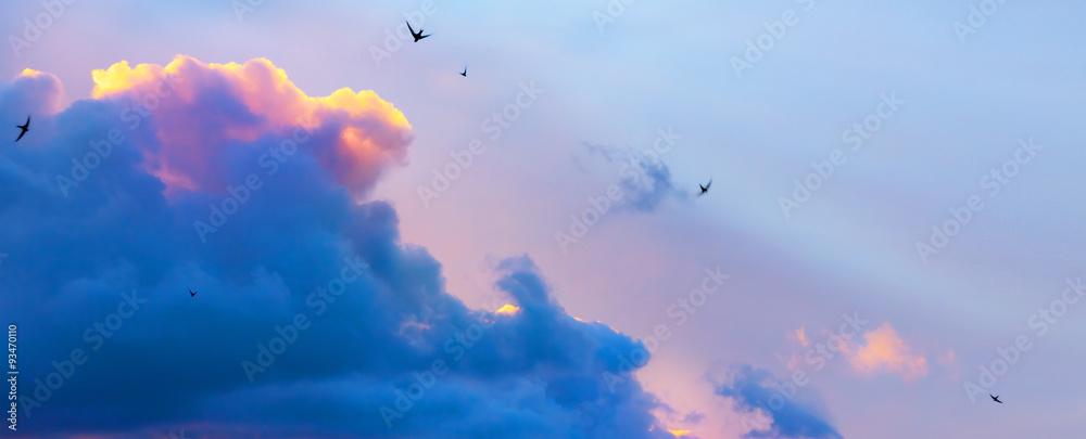 Fototapeta Abstract  dramatic blue sky Light background