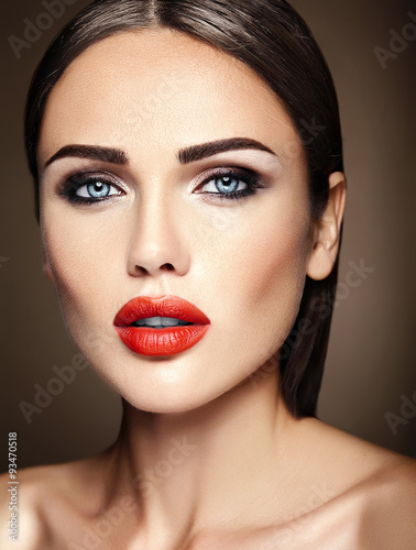 sensual glamour portrait of beautiful  woman model lady with fresh daily makeup Canvas Print