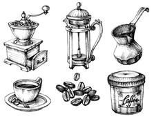 Coffee Icons Hand Drawn Set