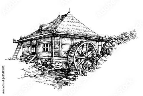 Canvas Print Watermill hand drawn artistic illustration