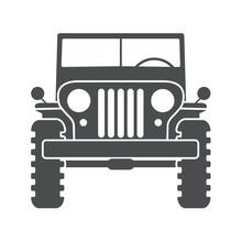 Icono Plano Jeep Frontal Gris