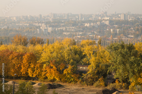 Stickers pour portes Orange eclat View of autumn Chisinau