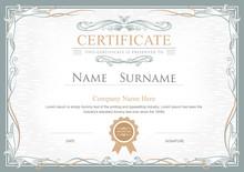 Achievement Certificate Flourishes Elegant Vintage Vector Templa