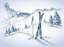 Ski Background, Mountains In W...