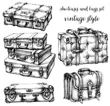 Suitcases And Bags Icon Set, Hand Drawn In Vintage Style