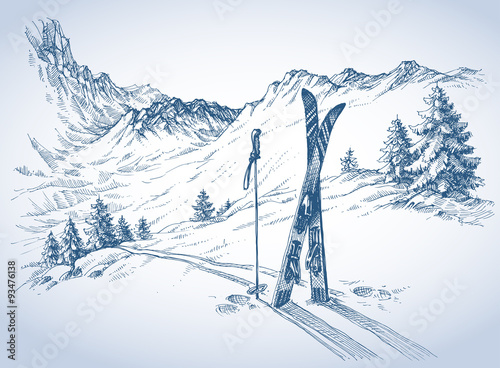 Photo Ski background, mountains in winter season