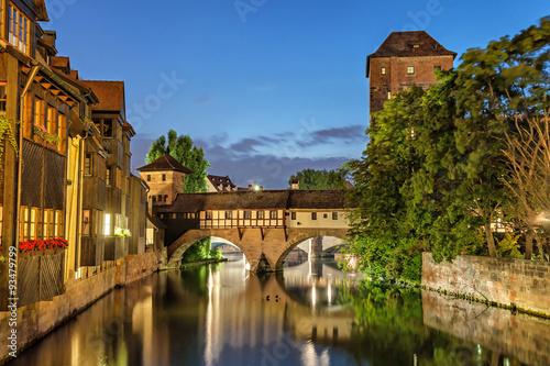 Fotografie, Obraz  The Hangman Bridge (Henkersteg) in Nuremberg