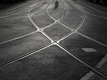 Rail Crossing Of Tramway