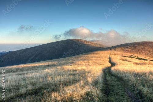 Montage in der Fensternische Gras Way through the sunrise on mountain grassy ridge