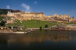 Amber fort above the lake , Jaipur, India