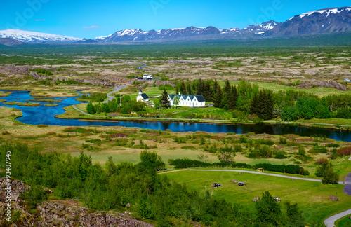 Fotografie, Obraz  Krajina v národním parku Thingvellir na Islandu