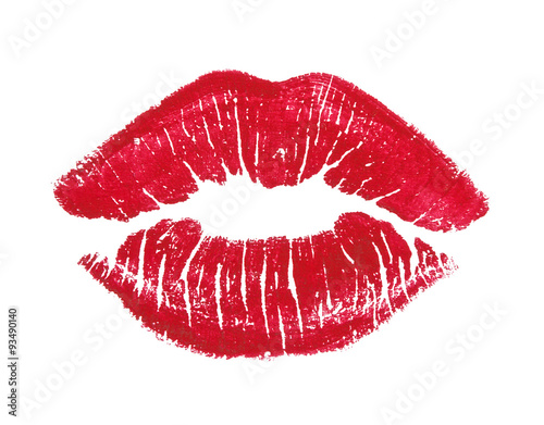 red lips isolated on white Canvas Print