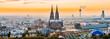 canvas print picture - Köln Panorama bei Sonnenuntergang