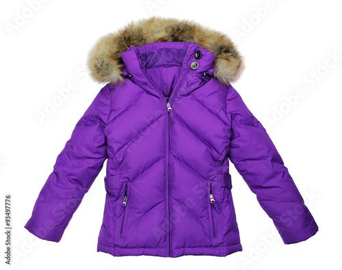 Fotografie, Tablou  Purple women winter jacket, isolated on pure white background