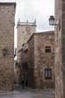 Hermosas calles de la ciudad medieval de Cáceres en la comunidad de Extremadura, España
