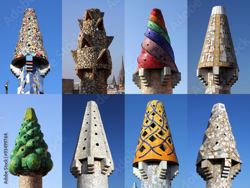 Fotografie, Tablou Colorful chimneys on Palau Guell, Barcelona