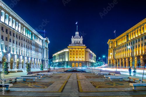 night view of the architectural ensemble of three Socialist Classicism edifices in central Sofia, the capital of Bulgaria