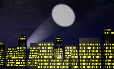 Cartoon city at night with spotlight or bat signal