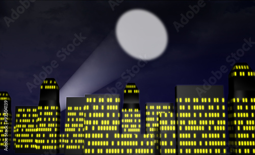 Photo Cartoon city at night with spotlight or bat signal