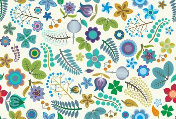 Folk Floral Seamless Vector Pattern