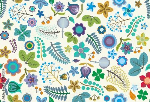 Valokuva  Folk Floral Seamless Vector Pattern