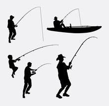 Fishing People Silhouettes. Go...