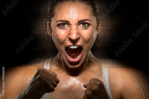 Obraz na płótnie Celebration athlete powerful shouting screaming successful winner champion fight