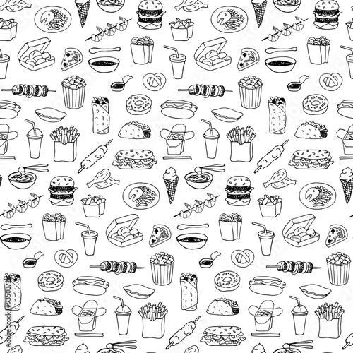 Tapety z jedzeniem i napojami fast-food-bezszwowa-reka-rysujacy-doodle-klepniecie