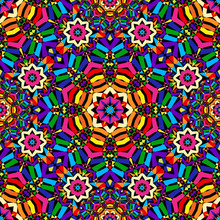 Bright Circular Seamless Kaleidoscope Pattern