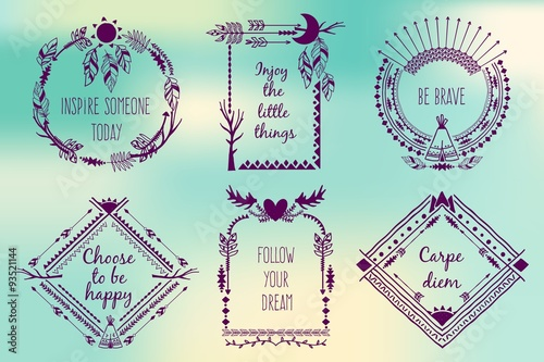 Fotografía  Hand drawn boho style frames with place for your text
