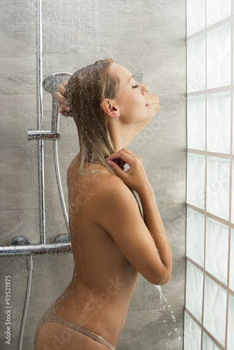 Blonde Girl Under Shower