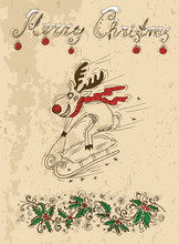 Christmas Card With Deer Weari...