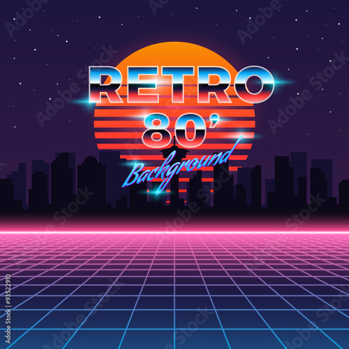 Photo  Retro neon abstract Sci-Fi vector background in 80s style