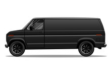 Matte Black Van With Black Alloy Rims And Blank Space On The Side For Your Text Or Logo. Detailed Vector Illustration.