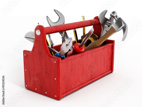 Fotografia  Red toolbox full of hand tools