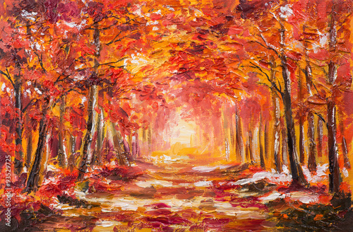 Fototapety, obrazy: Oil painting landscape - colorful autumn forest