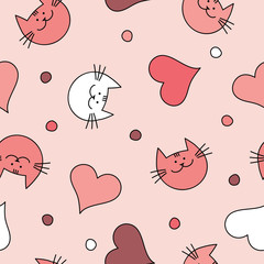 Seamless vector background with with decorative cats, hearts and polka dots