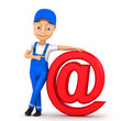 3d worker with email sign on a white background