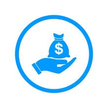 Money Insurance Sign. Hand Holds Cash Bag In Dollars Symbol. Modern UI Website Navigation. Vector