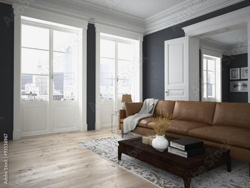 Wohnzimmer Und Schlafzimmer In Einer Altbau Wohnung Buy This Stock